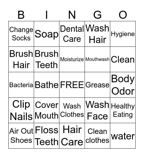 Personal Hygiene Bingo Card