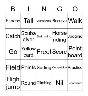 Sports vocabulary Bingo Card