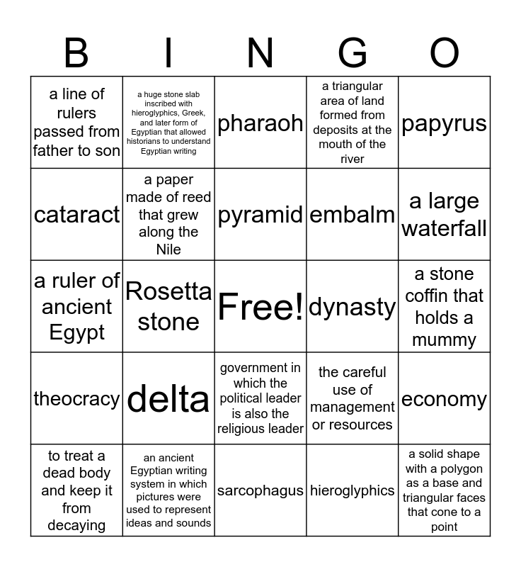 Ancient Egypt Bingo Card