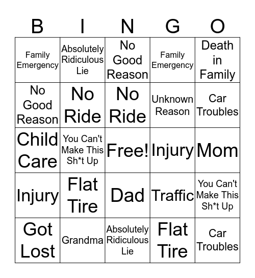 Why Did They Call Off THIS Time? Bingo Card