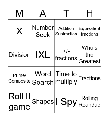 Math I Know Bingo Card