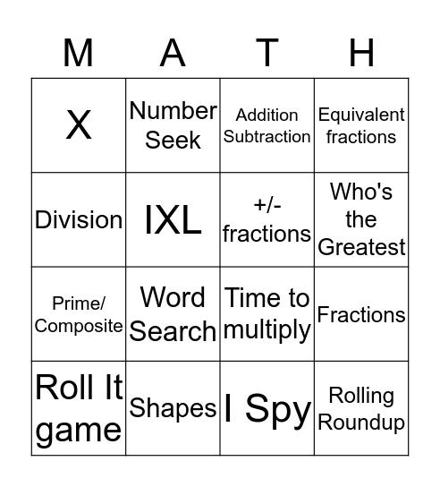 Math I Know Bingo Card