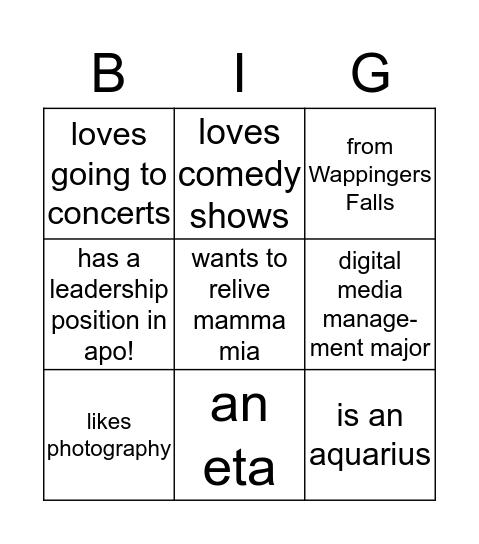 BIG BINGO  Bingo Card