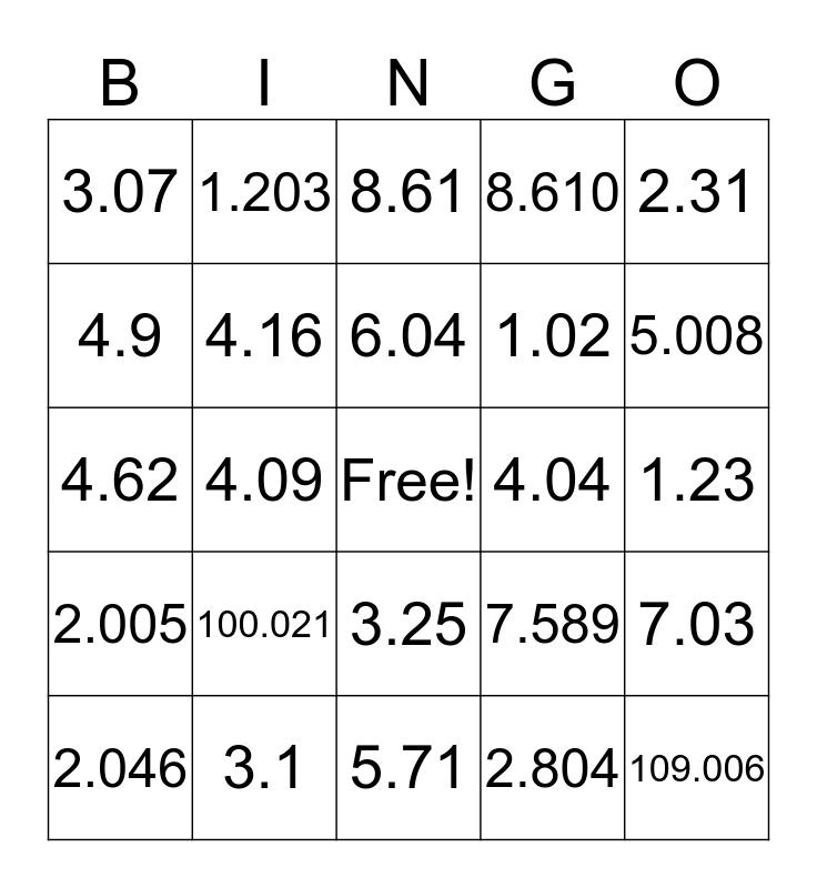 Decimal Fractions Bingo Card