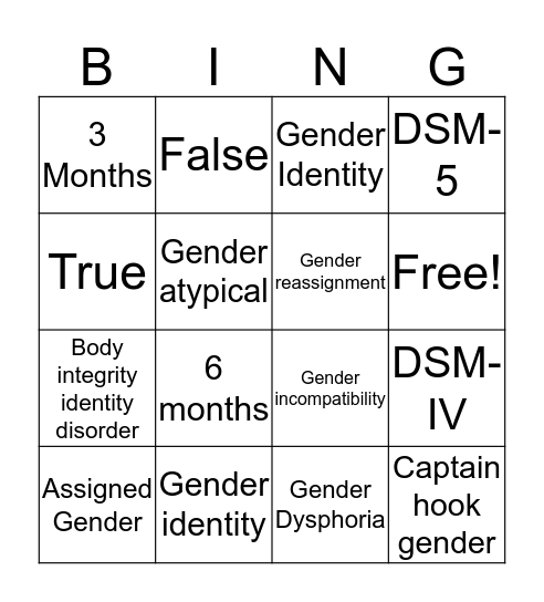 Gender Bingo Card