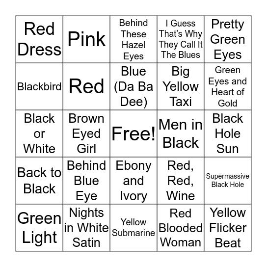 Splash of Colour Bingo Card
