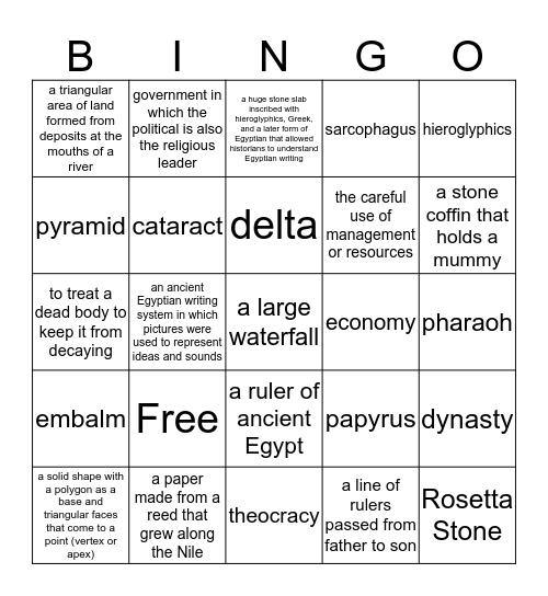 Ancient Egypt Bingo Card