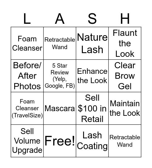 Lash Bingo  Bingo Card