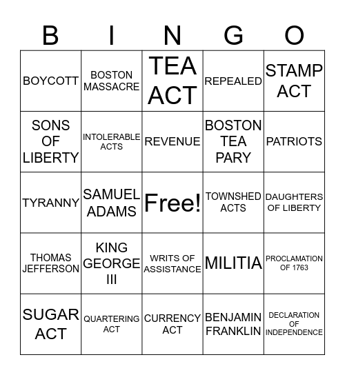 The Road to Revolution  Bingo Card