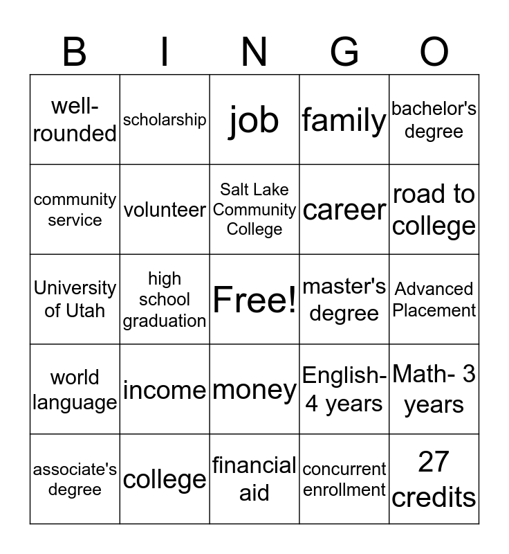 Why College Bingo Card