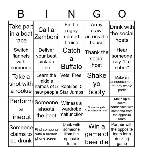 Drunk Rugby Bingo Card