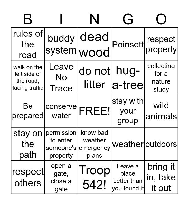 Outdoors Bingo Card