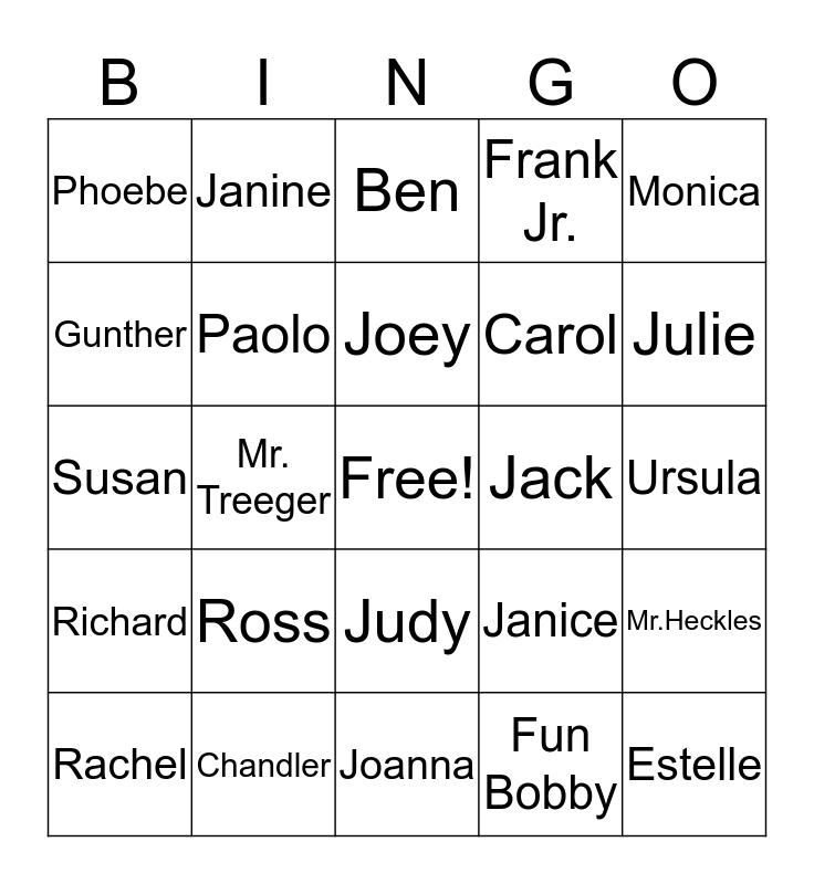 F·R·I·E·N·D·S BINGO Card
