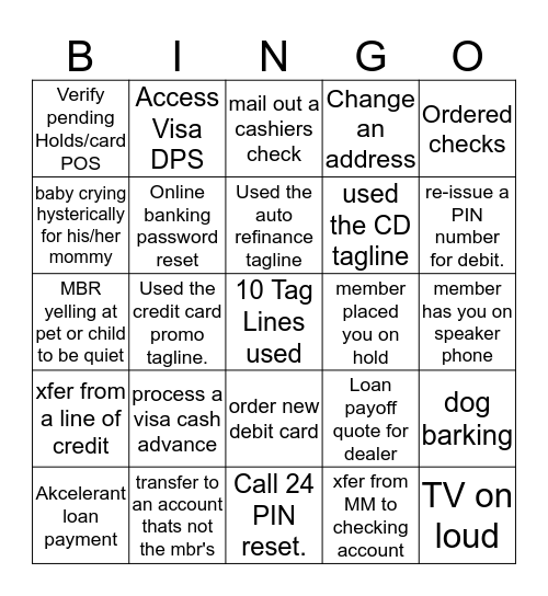 Tagline Bingo! Bingo Card