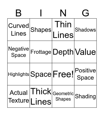Art One Bingo Card