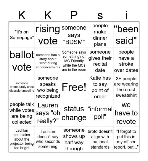Chapter Bingo Card