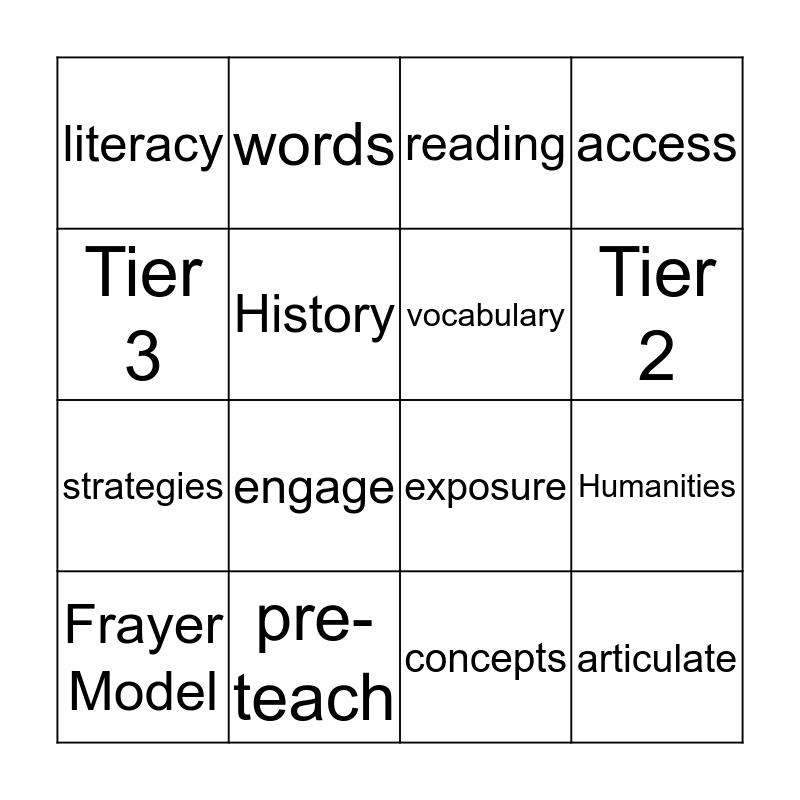Literacy in History Bingo Card