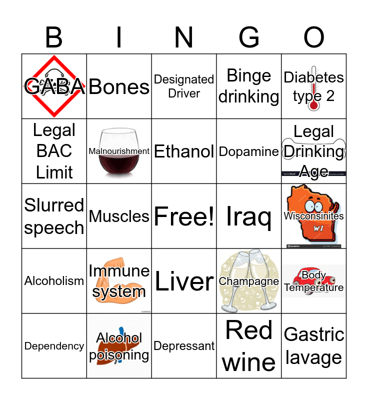Alcohol Awareness Bingo!  Bingo Card