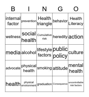 Intro to Health Bingo Card