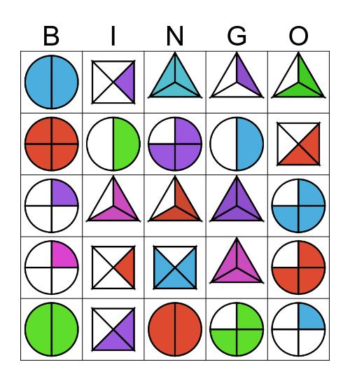Fraction and Shape Bingo Card