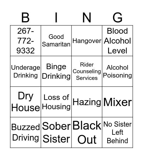 Risky Business Bingo Card