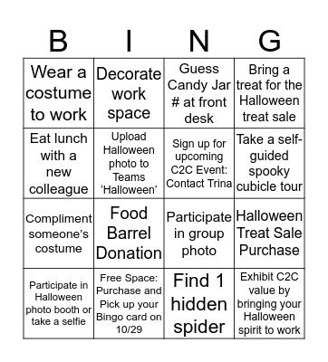 Halloween Giving Campaign Bingo Card