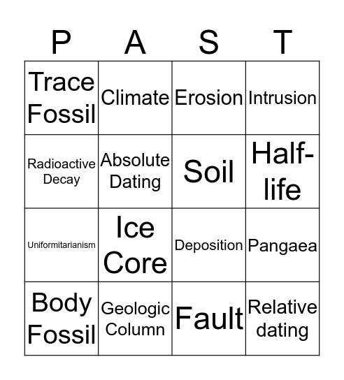 Earth's History Bingo Card