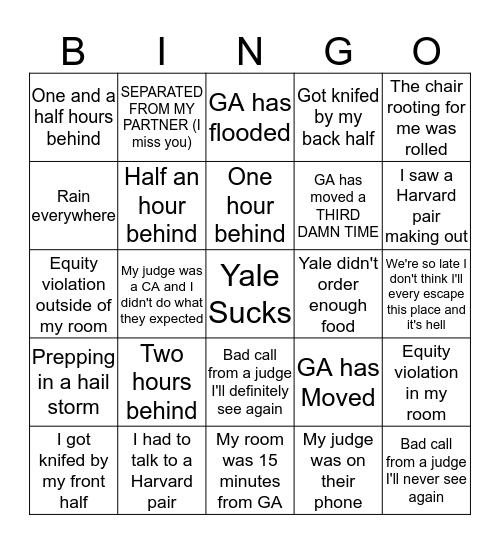 Yale IV Bingo Card
