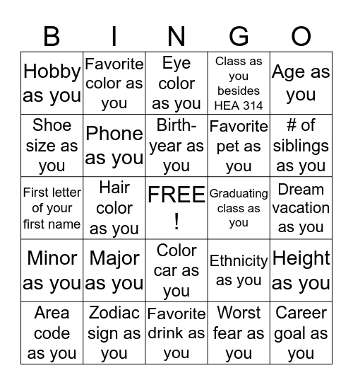 Find someone with the same... Bingo Card