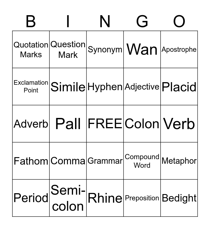 Ligeia Bingo Game Bingo Card