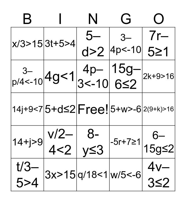 Inequalities Translations Bingo Card