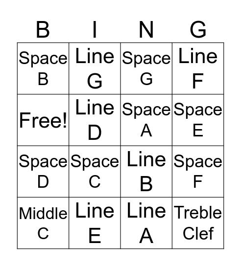 Treble Clef Bingo Card