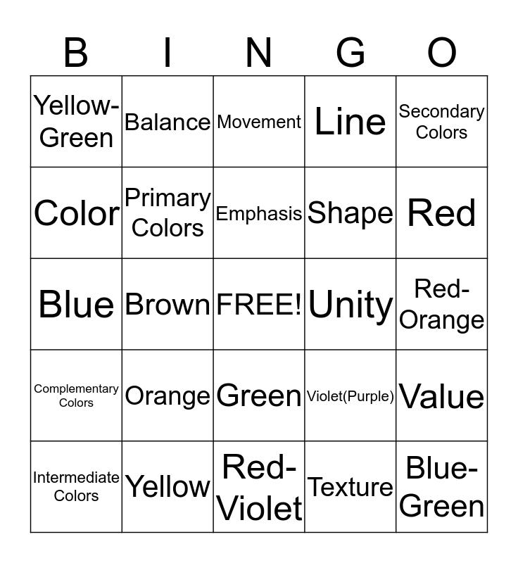 Elements/Principles & Color Bingo Card