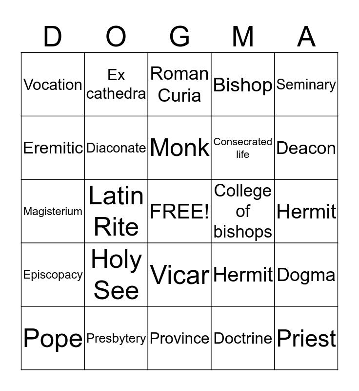Hierarchy Bingo Card