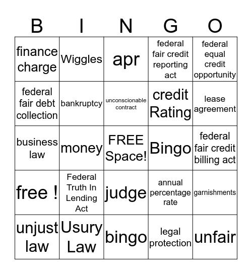 Legal Protection of Debtors Bingo Card