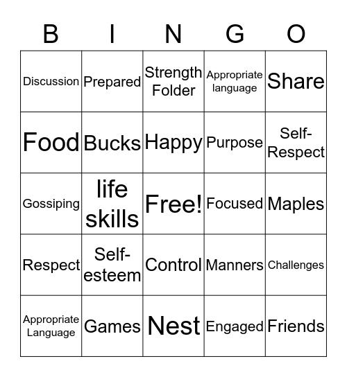 Maples Bingo Card