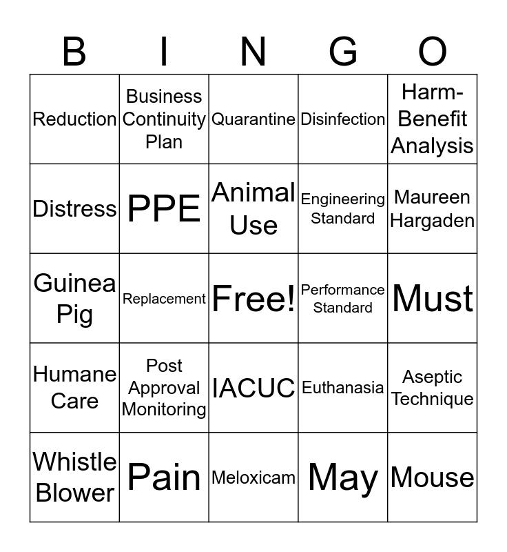AAALAC Bingo Card
