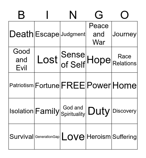 THEME Bingo Card