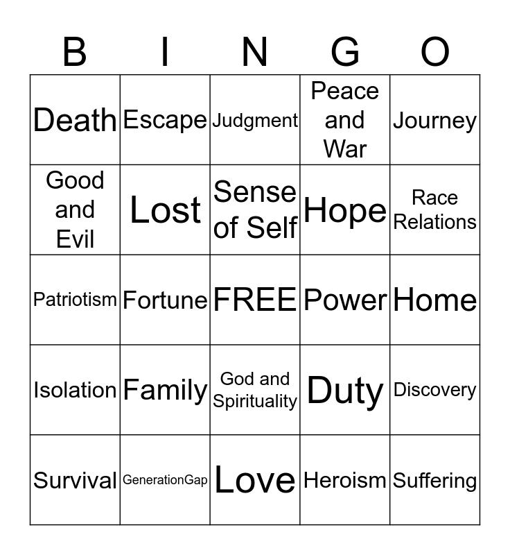 THEME Bingo Card