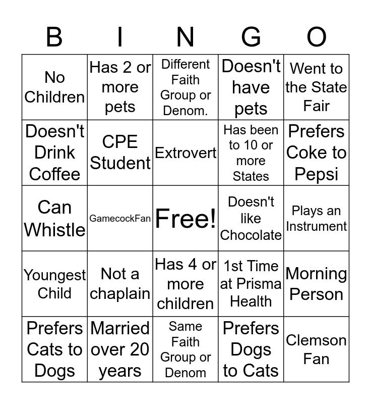 Community Spiritual Connections Bingo Card