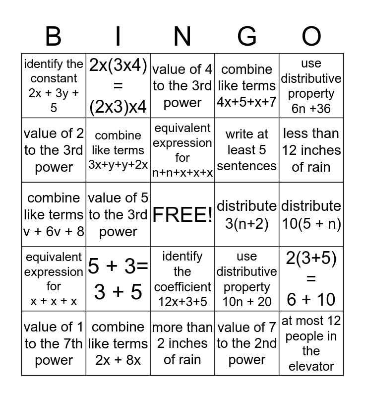Algebra Bingo Card
