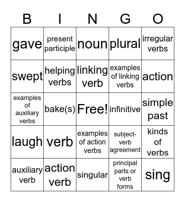 Verb Review Bingo Card