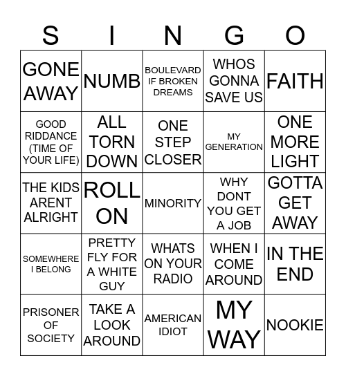 434 OFFSPRING VS GREENDAY VS LINKIN PARK VS LIVING END VS LIMP BIZKIT Bingo Card
