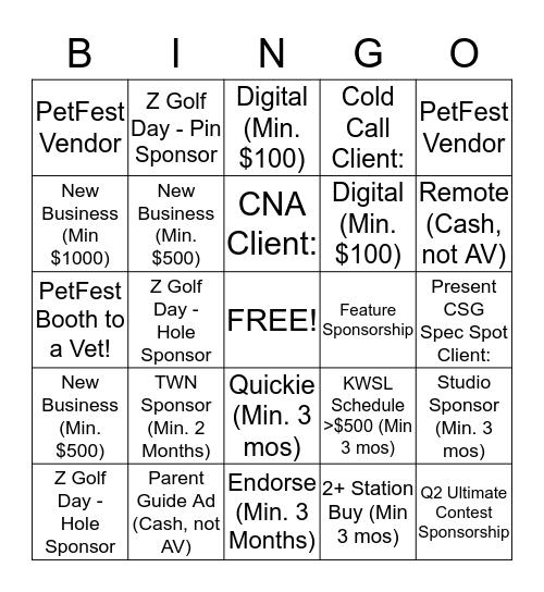 SALES FORCE BINGO! Bingo Card