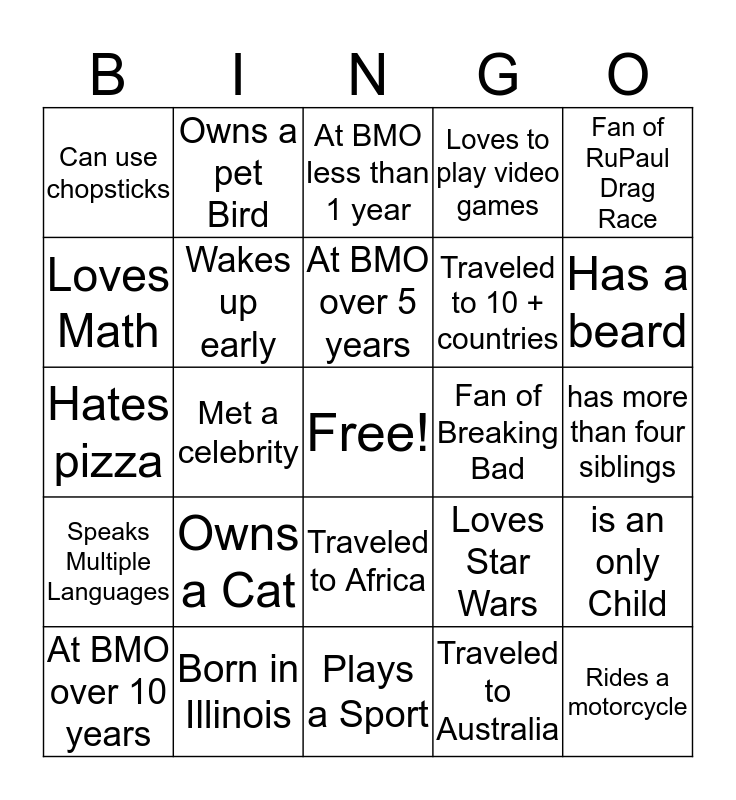 Pride US - Find someone who ____ Bingo Card