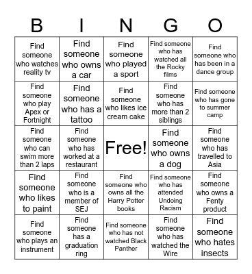 Students for Educational Justice  Bingo Card