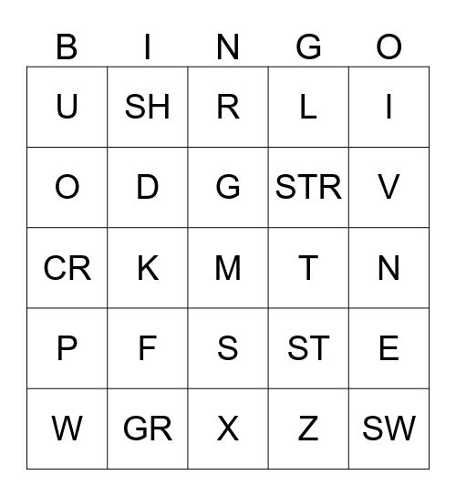 Alphabet Bingo Card