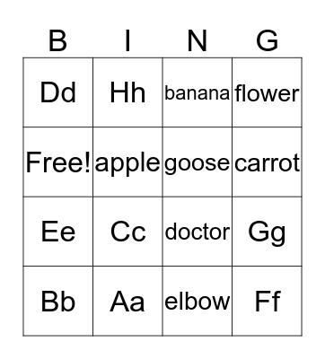 ABC Bingo Card