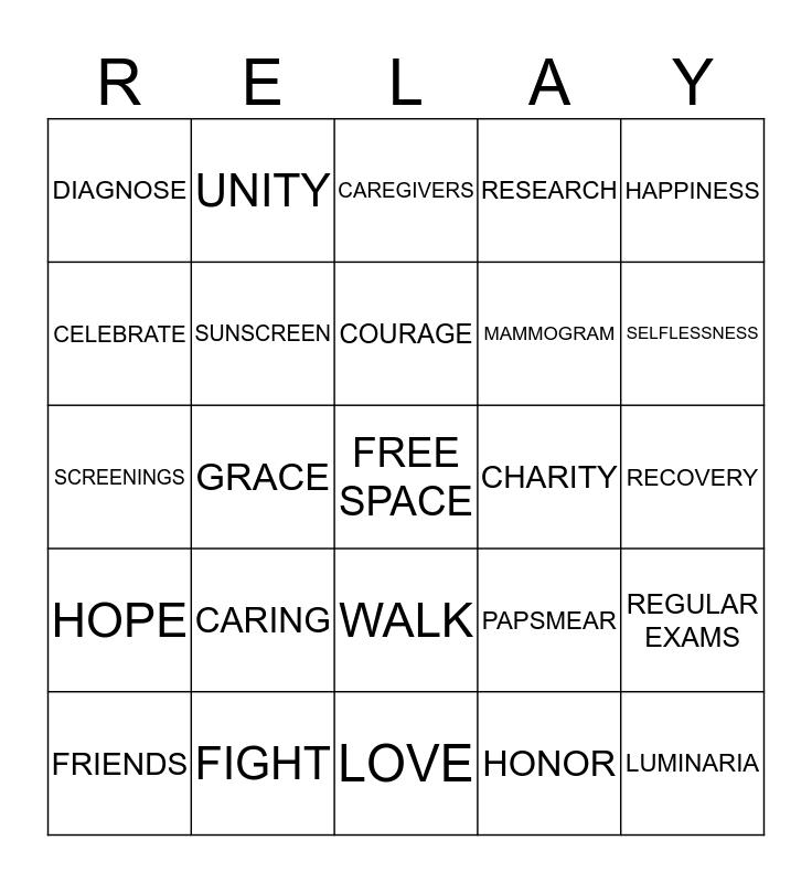 RELAY FOR LIFE Bingo Card