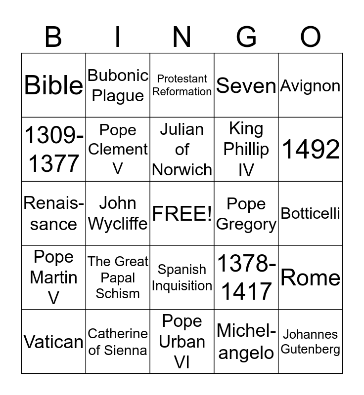 The Late Middle Ages Bingo Card